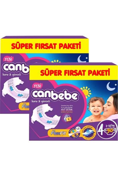 Canbebe Bebek Bezi 4 Numara Maxi 2 * 90 = 180 Adet 7-14 kg Süper