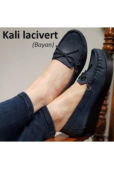 Hotanto Kali Lacivert Vegan Oxford Kadın Ayakkabı