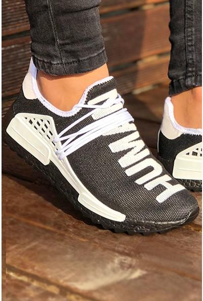 Tommy Life Human Baskılı Siyah-Beyaz Erkek Spor Ayakkabı