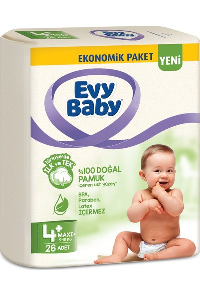 Evy Baby Bebek Bezi 4+ Beden Maxiplus 26 Adet (Yeni)