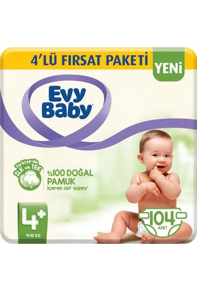 Evy Baby Bebek Bezi 4+ Beden Maxiplus 4'lü Fırsat Paketi 104 Adet (Yeni)
