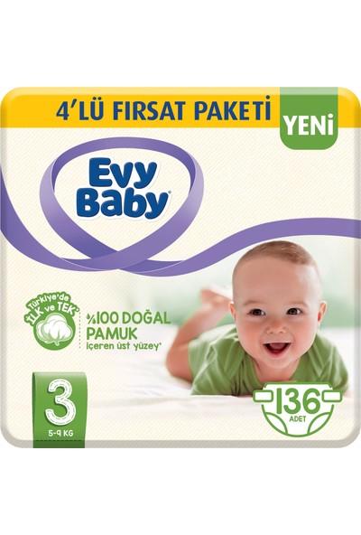 Evy Baby Bebek Bezi 3 Beden Midi 4'lü Fırsat Paketi 136 Adet (Yeni)