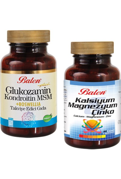 Balen 2'li Eklem Sağlığı Set Glukozamin Chondroitin Msm Boswelia ve Cal-Mag-Çinko