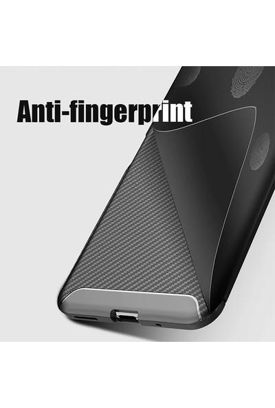 Happyshop Honor 20 Kılıf Karbon Desenli Lux Negro Silikon + Nano Ekran Koruyucu Lacivert