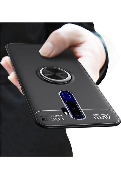 Happyshop Oppo A5 2020 Kılıf Yüzüklü Ravel Silikon + Nano Ekran Koruyucu Rose Gold