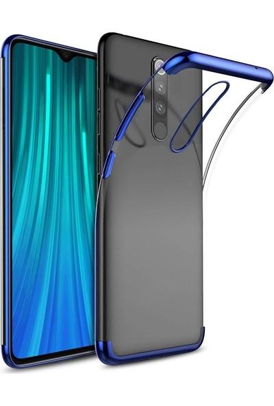 Happyshop Xiaomi Redmi 8 Kılıf 4 Köşe Renkli Şeffaf Laser Silikon + Ekran Koruyucu Mavi