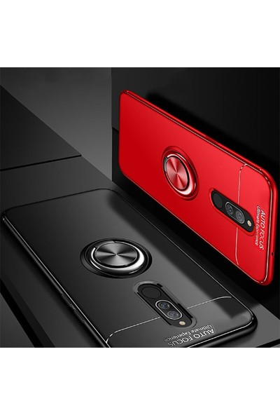 Happyshop Xiaomi Redmi 8 Kılıf Yüzüklü Ravel Silikon + Nano Ekran Koruyucu Siyah