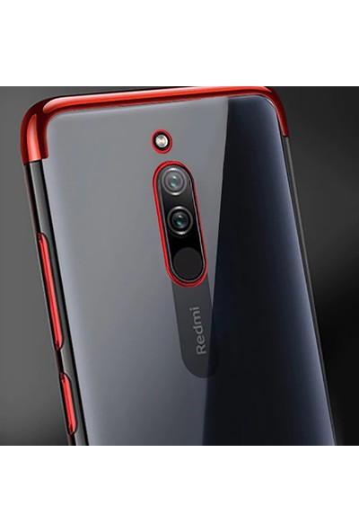 Happyshop Xiaomi Redmi 8A Kılıf 4 Köşe Renkli Şeffaf Laser Silikon + Ekran Koruyucu Gri