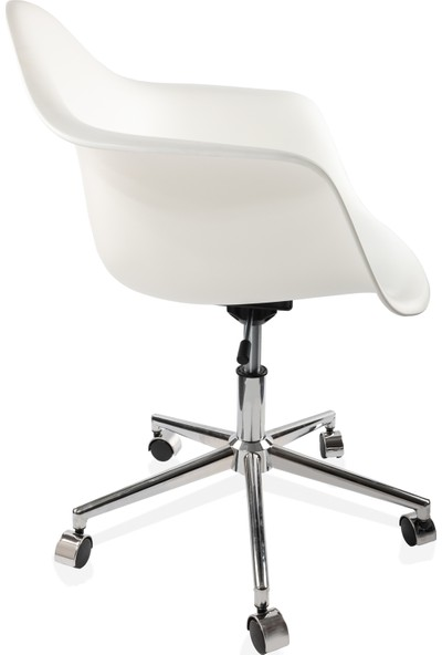 Dorcia Home Kolçaklı Ofis Sandalyesi Çalışma Koltuğu Ofis Koltuğu Beyaz