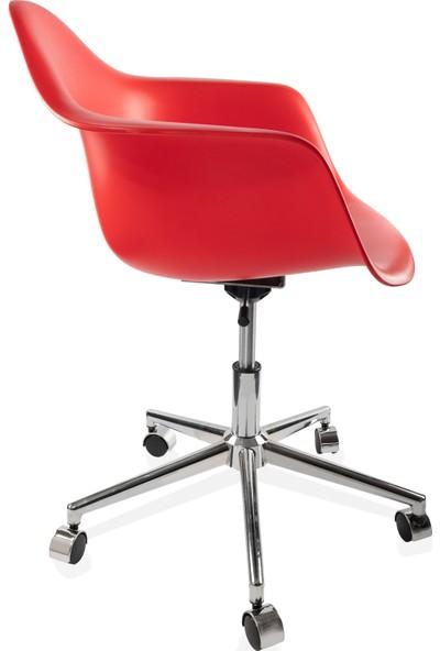 Dorcia Home Kolçaklı Ofis Sandalyesi Çalışma Koltuğu Ofis Koltuğu Kırmızı