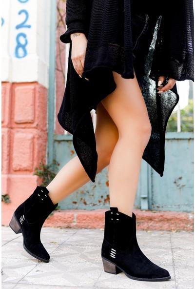 TARÇIN Günlük Kadın Siyah Süet Topuklu Vestern Çekme Çizme TRC06-0023