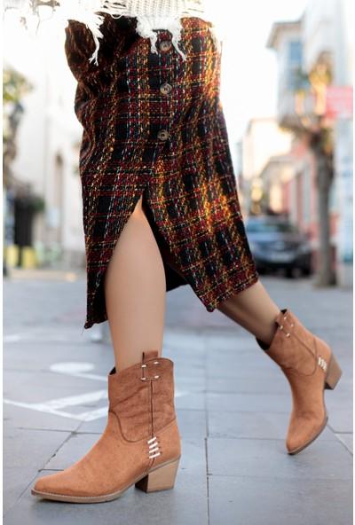 TARÇIN Günlük Kadın Taba Süet Topuklu Vestern Çekme Çizme TRC06-0023