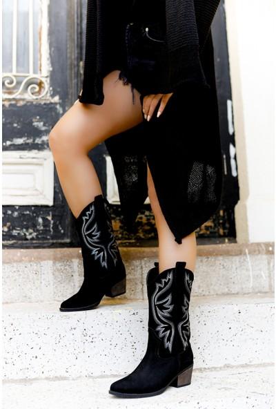 TARÇIN Günlük Kadın Siyah Süet Topuklu Vestern Çizme TRC06-0054