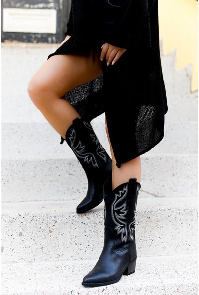 TARÇIN Günlük Kadın Siyah Topuklu Vestern Çizme TRC06-0054