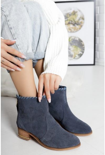 TARÇIN Hakiki Deri Antrasit Günlük Kadın Topuklu Çizme TRC132-0201