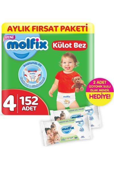 Molfix Külot Bez 4 Beden Maxi Aylık Fırsat Paketi 152 Adet + 2 Adet İzotonik Sulu Islak Mendil Ferah Temizlik Hediyeli