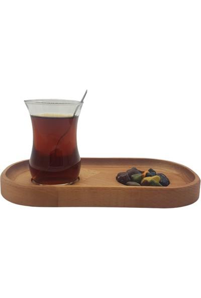 Nazar Antalya Ahşap Sunum Tabak Çay Kahve El Yapımı