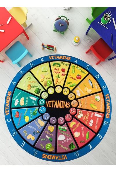 Confetti Yuvarlak Çocuk Halısı Vitamins Bukle Siyah 200 cm