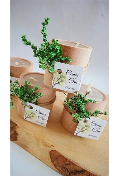 Brıdalook Yeşil Çiçekli Kütük Mum Nikah Şekeri (25 Adet)