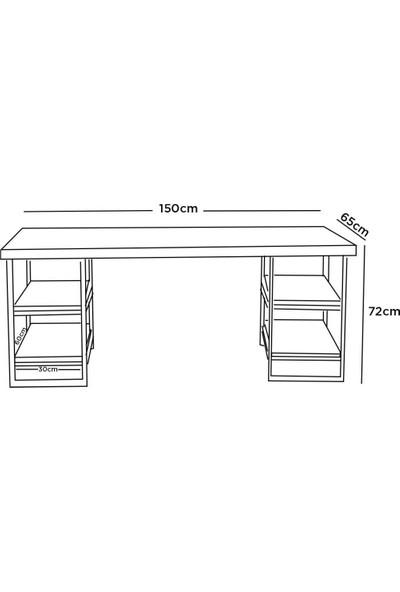 EsmaHome Nüans Lüx Çalışma Masası 4 Raflı Ceviz
