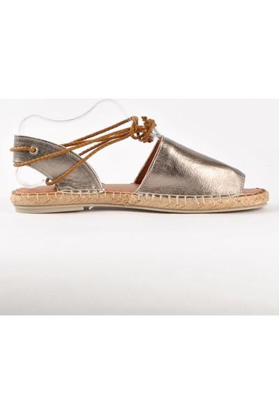 Hotanto Venüs Kurşun Deri Espadril Kadın Günlük Sandalet