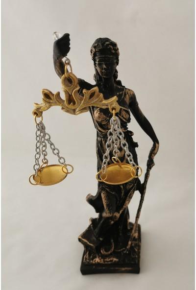 Gold Dekor Adalet Terazisi.polyester Döküm.28 Cm.siyah Renk