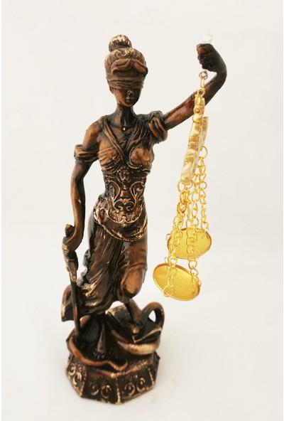 Gold Dekor Adalet Heykeli.polyester Döküm.28 Cm.ahşap Renk