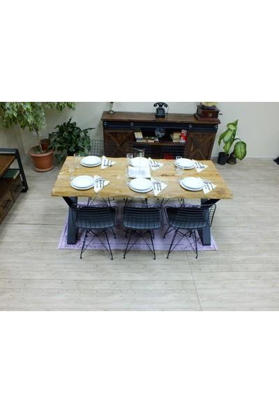 NtConcept Masif Kütük Açık Ceviz Yemek Masası - MYM0011