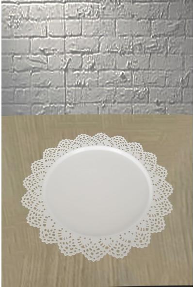 Venon Home Metal Tepsi Desenli Beyaz