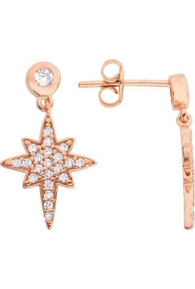 Harem Altın Kutup Yıldızlı Gümüş Küpe - Gms575