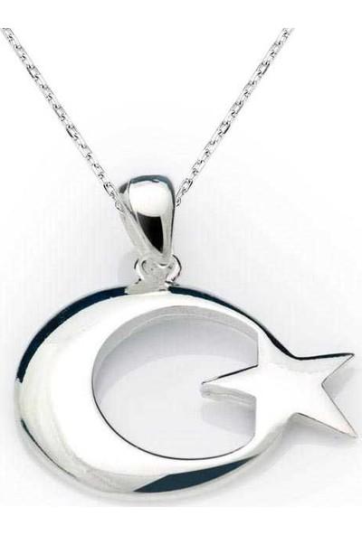 Harem Altın Pnd99040014 Gümüş Ay Yıldız Bayrak Kolye