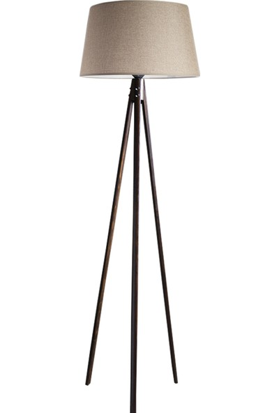 Ağaç Ustası Oval 3 Ayak Tripod Lambader Abajur Avize Aydınlatma Ahşap Ceviz Ağaç Country Dekor Lamba Aplik Masif Doğal
