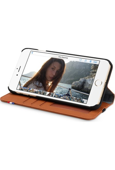 Decoded Apple iPhone 8 Plus Deri Cüzdan Kılıf - Kahverengi