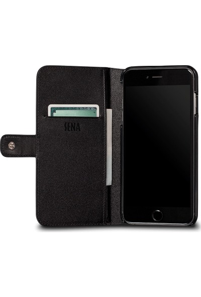 Sena Apple iPhone 8 Deri Cüzdan Kılıf - Siyah