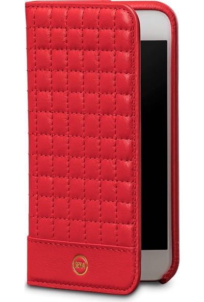 Sena Quilted Apple iPhone 7 Plus Deri Cüzdan Kılıf - Kırmızı