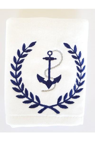 Gaintart Marin Serisi Başak Çerçeveli Çıpa Nakışlı El Havlusu 30 x 50 cm