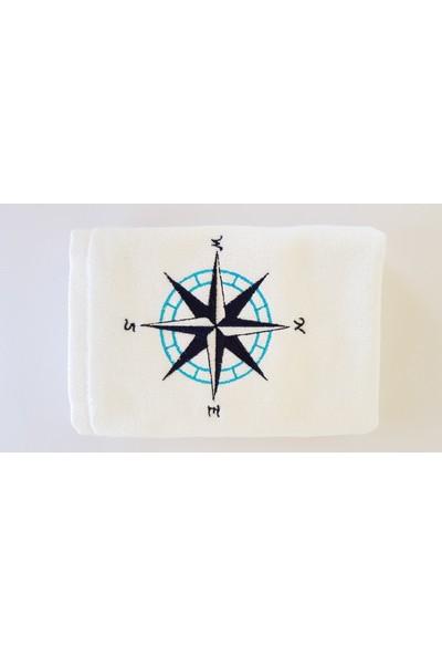 Gaintart Marin Serisi Pusula Nakışlı El Havlusu 30 x 50 cm