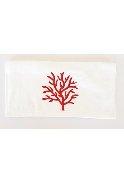 Gaintart Marin Serisi Kırmızı Mercan Nakışlı El Havlusu 30 x 50 cm