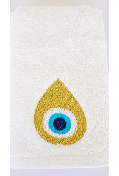 Gaintart Simli Damla Nazarlık Nakışlı El Havlusu 30 x 50 cm