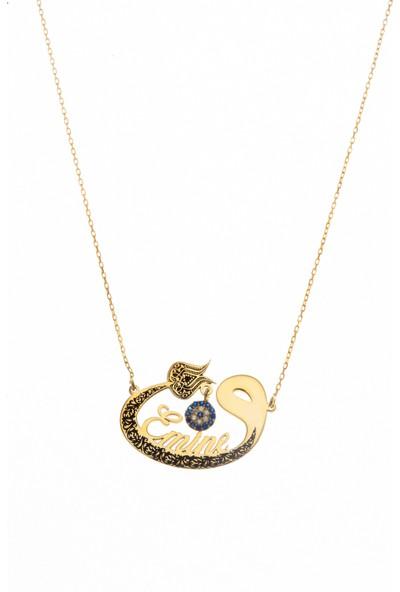 Ayyıldız Jewelry Isim Yazılı Altın Kaplama Gümüş Vav Kolye