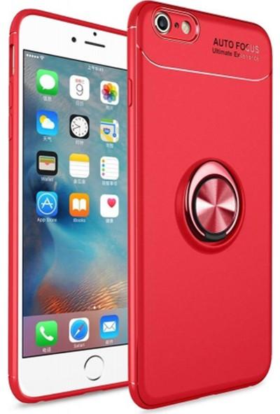 Livadi iPhone 7 Plus Kılıf Yüzüklü Araç İçi Mıknatıslı Yeni Nesil Tam Koruma Kılıf - Kırmızı
