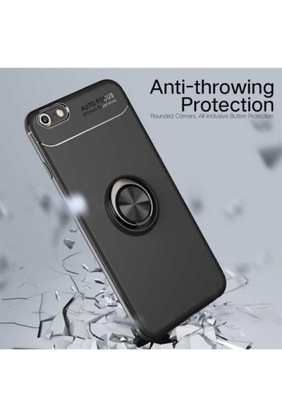 Livadi iPhone 7 Plus Kılıf Yüzüklü Araç İçi Mıknatıslı Yeni Nesil Tam Koruma Kılıf - Siyah