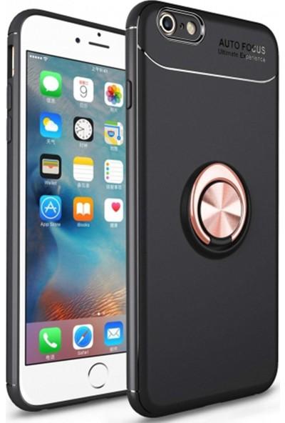 Livadi iPhone 8 Kılıf Yüzüklü Araç İçi Mıknatıslı Yeni Nesil Tam Koruma Kılıf - Siyah - Rose Gold