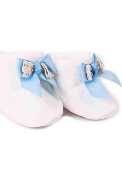 Breeze Kız Bebek Panduf Ekru-Mavi Yenidoğan