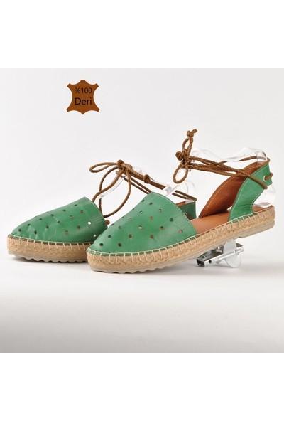 Hotanto Helena Yeşil Deri Kadın Sandalet