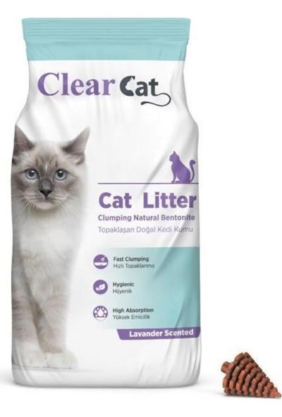 Clear Cat Lavanta Kokulu 5 kg İnce Taneli Bentonit Kedi Kumu