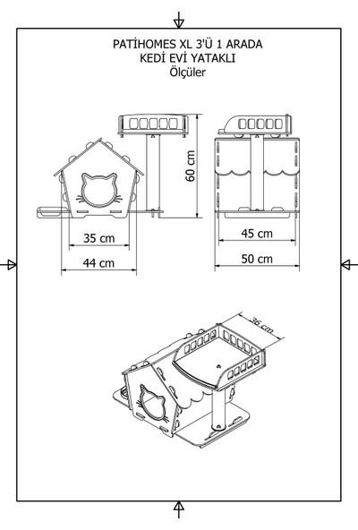 Pati Homes Pro 3'ü 1 Arada Kedi Evi Yataklı Bej