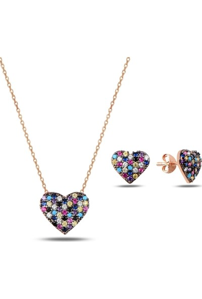Bakalcik Gümüş 925 Ayar Rose Altın Kaplama Karışık Renk Zirkon Taş İşlemeli Kalp Set Kolye Küpe
