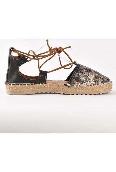 Hotanto Simba Leopar Payetli Deri Kadın Sandalet