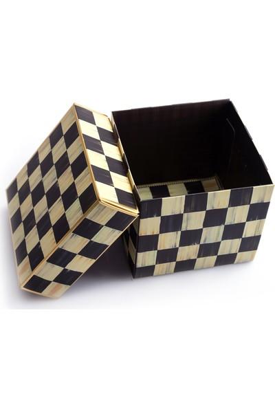 Ambalaj Hikayeleri Vintage Görünümlü Karton Kutu Siyah Krem Damalı